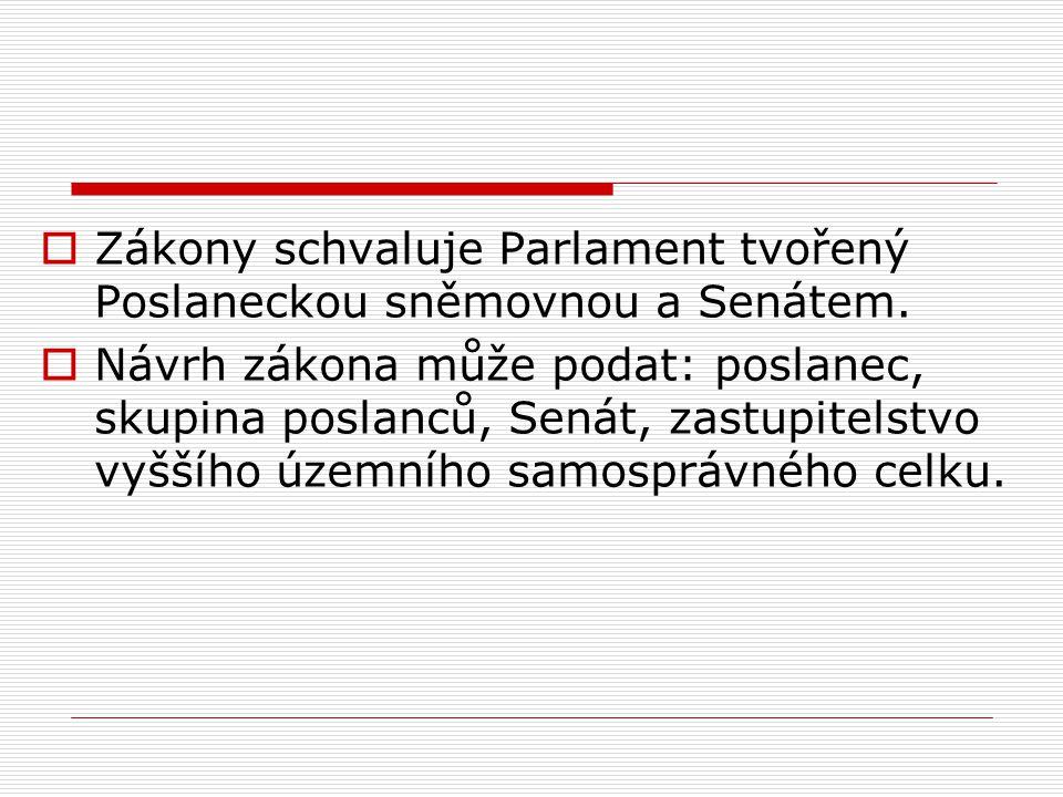  Zákony schvaluje Parlament tvořený Poslaneckou sněmovnou a Senátem.  Návrh zákona může podat: poslanec, skupina poslanců, Senát, zastupitelstvo vyš