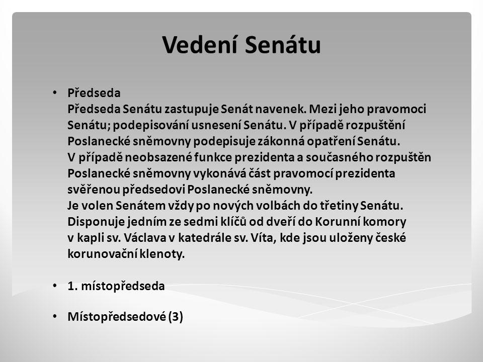 Vedení Senátu Předseda Předseda Senátu zastupuje Senát navenek.