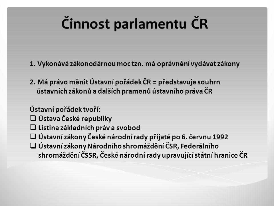 Činnost parlamentu ČR 1.Vykonává zákonodárnou moc tzn.