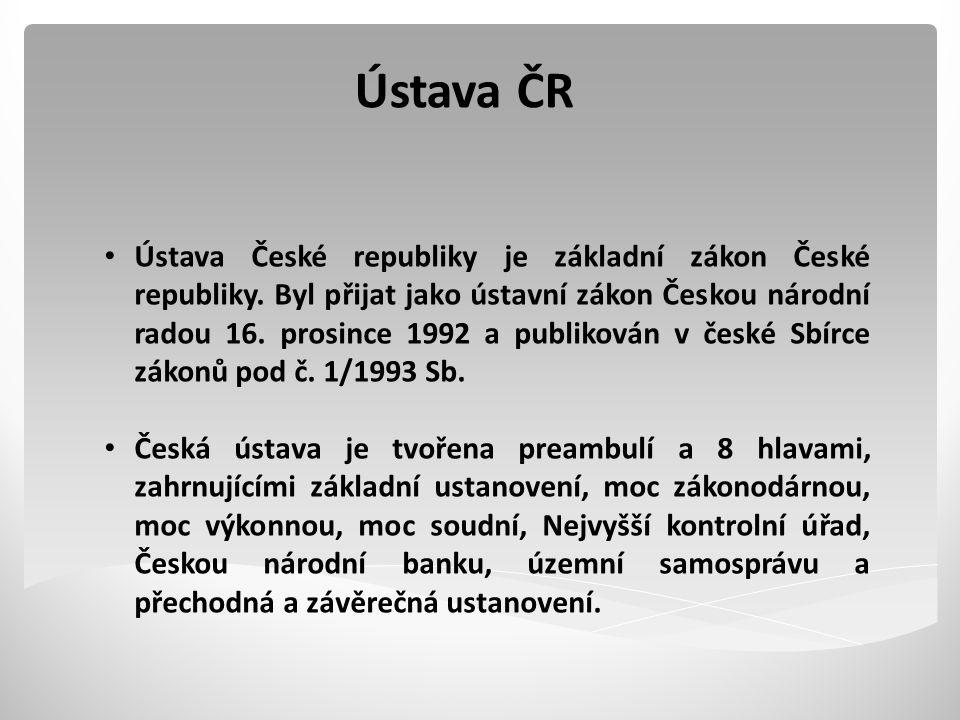 Ústava ČR Ústava České republiky je základní zákon České republiky.
