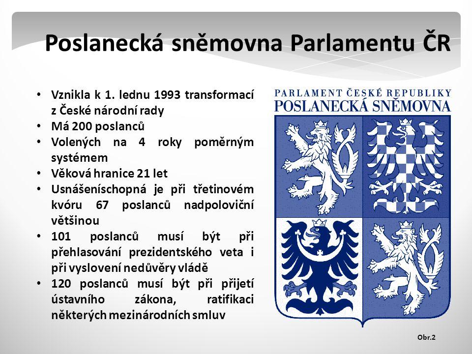 Poslanecká sněmovna Parlamentu ČR Vznikla k 1.