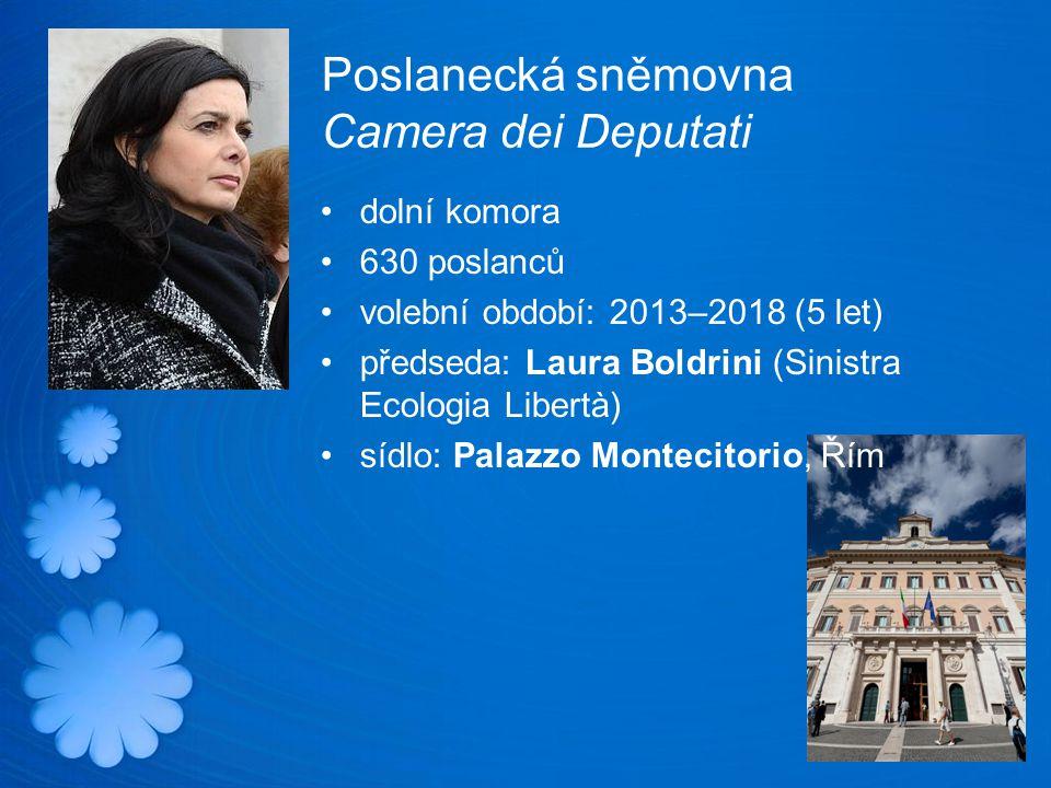 Poslanecká sněmovna Camera dei Deputati dolní komora 630 poslanců volební období: 2013–2018 (5 let) předseda: Laura Boldrini (Sinistra Ecologia Libertà) sídlo: Palazzo Montecitorio, Řím