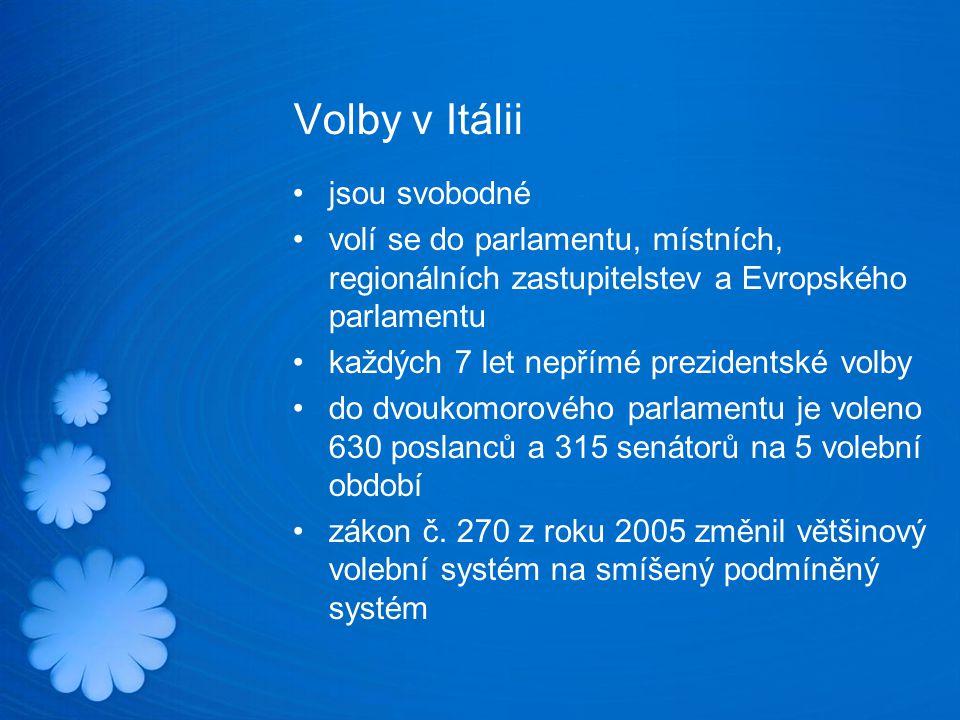 Volby v Itálii jsou svobodné volí se do parlamentu, místních, regionálních zastupitelstev a Evropského parlamentu každých 7 let nepřímé prezidentské volby do dvoukomorového parlamentu je voleno 630 poslanců a 315 senátorů na 5 volební období zákon č.