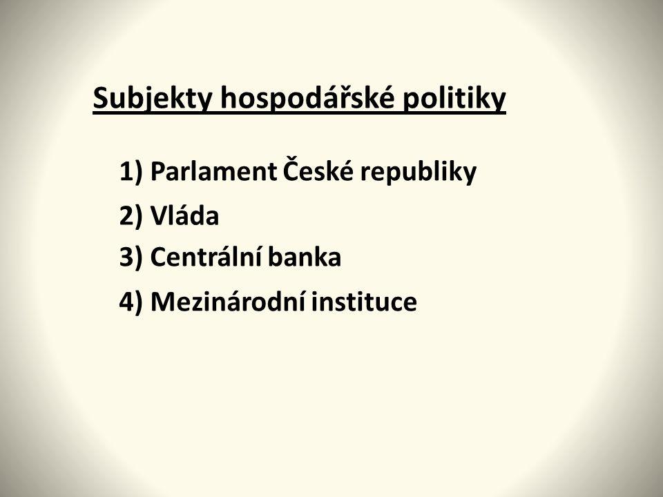 Subjekty hospodářské politiky 1) Parlament České republiky 2) Vláda 3) Centrální banka 4) Mezinárodní instituce
