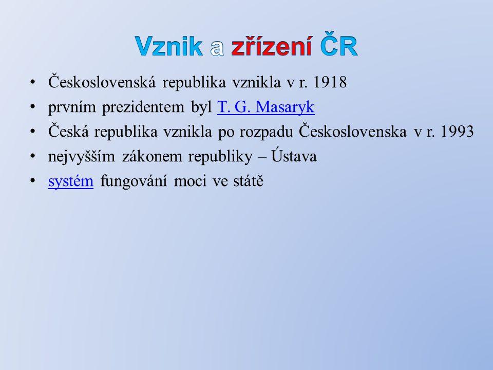 Československá republika vznikla v r. 1918 prvním prezidentem byl T.