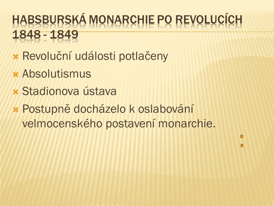  Revoluční události potlačeny  Absolutismus  Stadionova ústava  Postupně docházelo k oslabování velmocenského postavení monarchie.