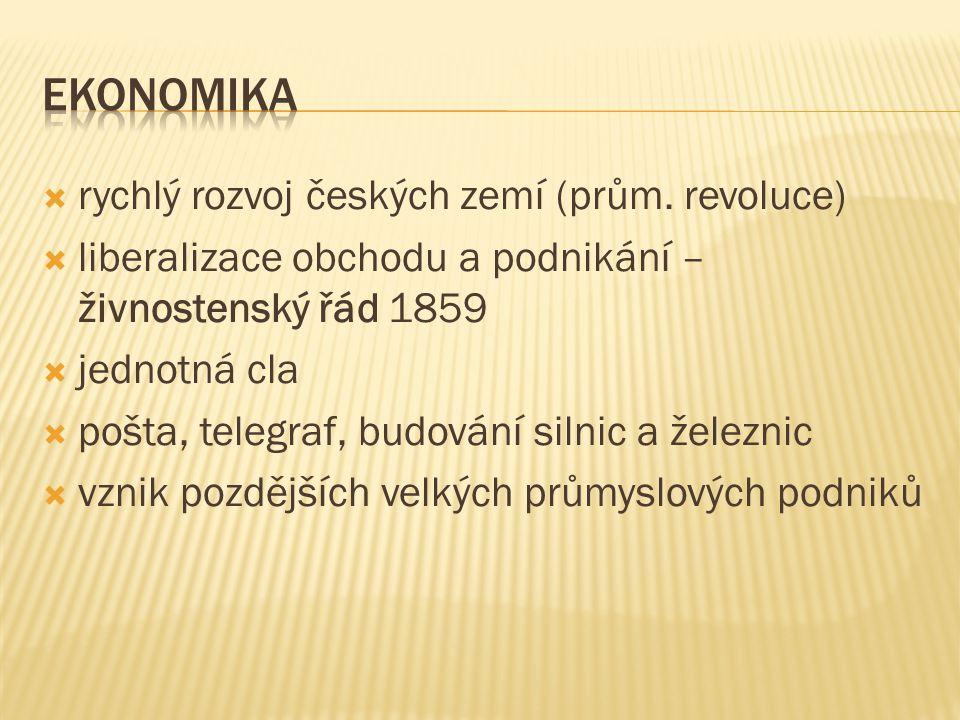 rychlý rozvoj českých zemí (prům. revoluce)  liberalizace obchodu a podnikání – živnostenský řád 1859  jednotná cla  pošta, telegraf, budování si