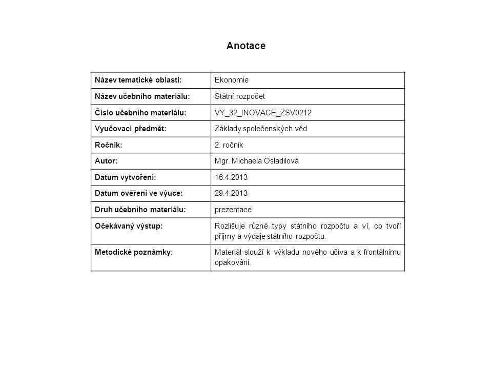 Anotace Název tematické oblasti: Ekonomie Název učebního materiálu: Státní rozpočet Číslo učebního materiálu: VY_32_INOVACE_ZSV0212 Vyučovací předmět: