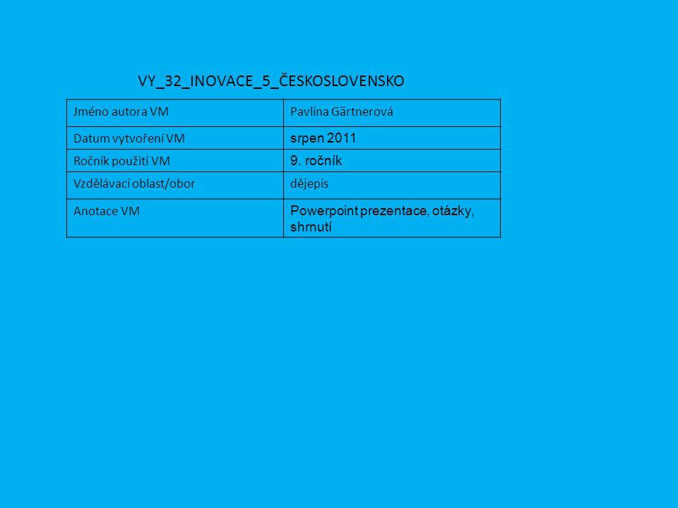 Jméno autora VMPavlína Gärtnerová Datum vytvoření VM srpen 2011 Ročník použití VM 9. ročník Vzdělávací oblast/obordějepis Anotace VM Powerpoint prezen