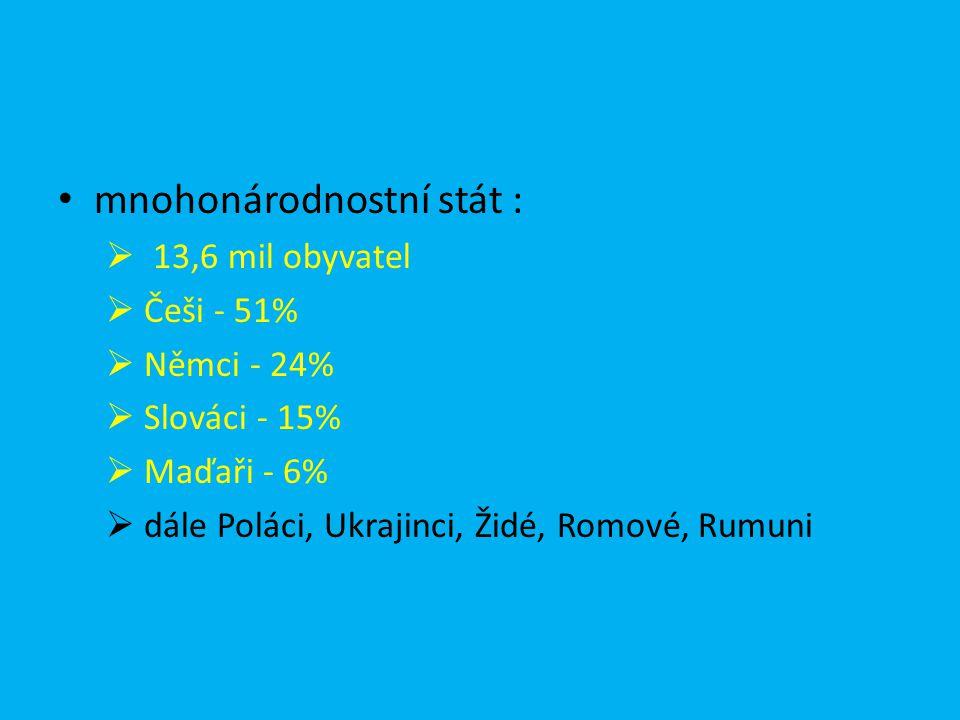 mnohonárodnostní stát :  13,6 mil obyvatel  Češi - 51%  Němci - 24%  Slováci - 15%  Maďaři - 6%  dále Poláci, Ukrajinci, Židé, Romové, Rumuni