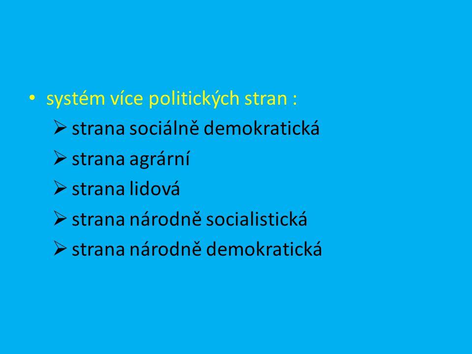 systém více politických stran :  strana sociálně demokratická  strana agrární  strana lidová  strana národně socialistická  strana národně demokr