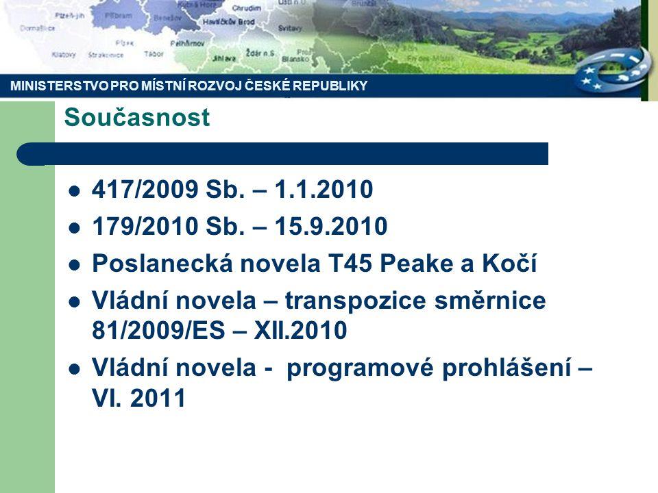 MINISTERSTVO PRO MÍSTNÍ ROZVOJ ČESKÉ REPUBLIKY Současnost 417/2009 Sb.