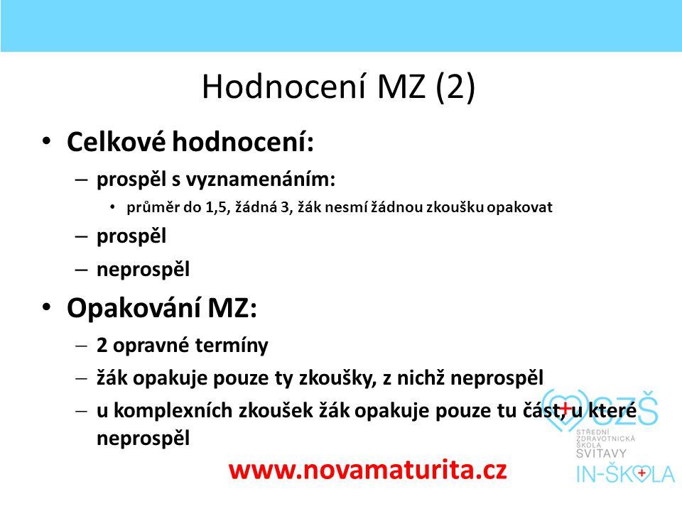 Hodnocení MZ (2) Celkové hodnocení: – prospěl s vyznamenáním: průměr do 1,5, žádná 3, žák nesmí žádnou zkoušku opakovat – prospěl – neprospěl Opakování MZ:  2 opravné termíny  žák opakuje pouze ty zkoušky, z nichž neprospěl  u komplexních zkoušek žák opakuje pouze tu část, u které neprospěl www.novamaturita.cz