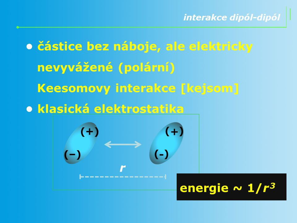interakce dipól-dipól částice bez náboje, ale elektricky nevyvážené (polární) Keesomovy interakce [kejsom] klasická elektrostatika r (-)(-) (+)(+) (+)