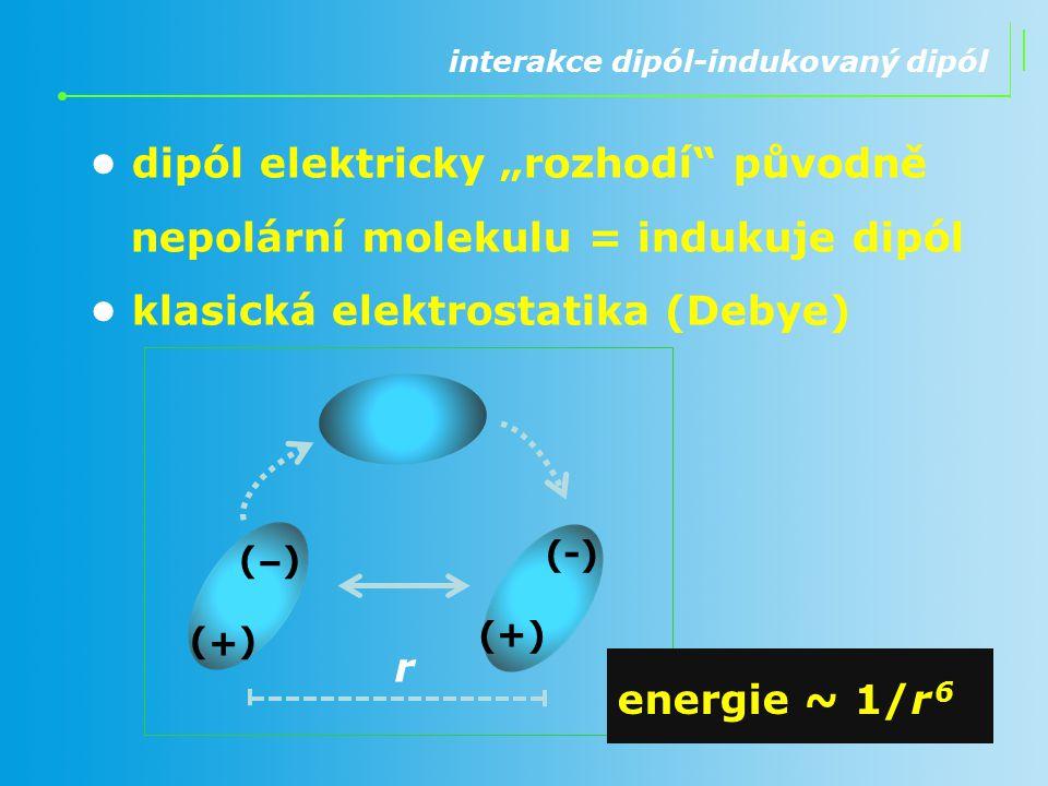 """interakce dipól-indukovaný dipól dipól elektricky """"rozhodí"""" původně nepolární molekulu = indukuje dipól klasická elektrostatika (Debye) r energie ~ 1/"""