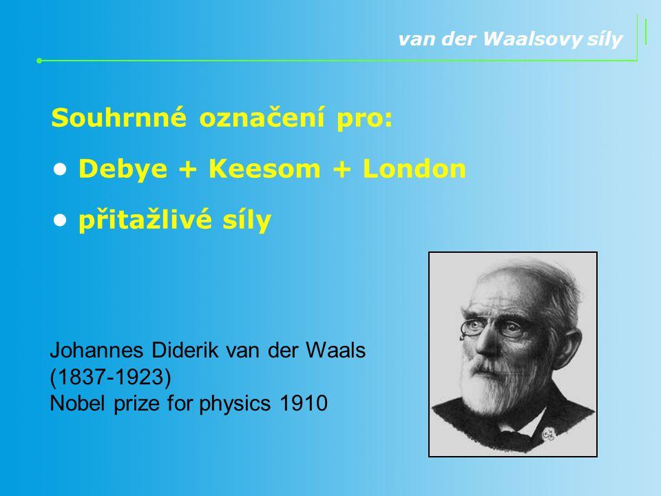 van der Waalsovy síly Souhrnné označení pro: Debye + Keesom + London přitažlivé síly Johannes Diderik van der Waals (1837-1923) Nobel prize for physic