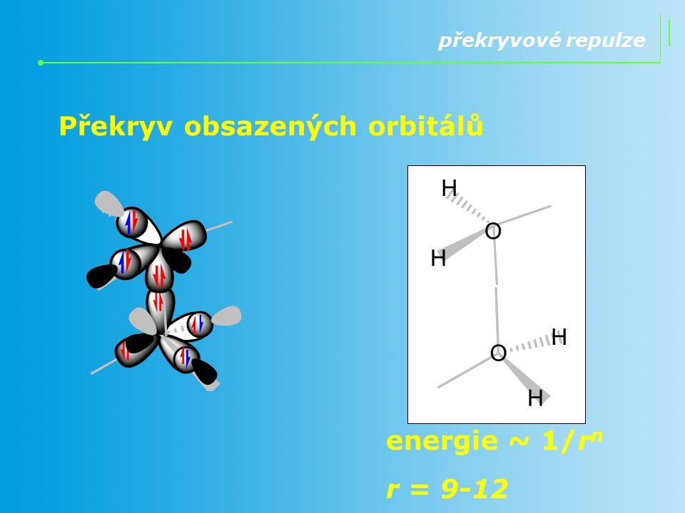 překryvové repulze Překryv obsazených orbitálů energie ~ 1/r n r = 9-12 O H H O H H