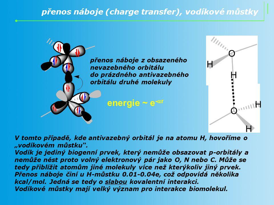 přenos náboje (charge transfer), vodíkové můstky O H H O H H přenos náboje z obsazeného nevazebného orbitálu do prázdného antivazebného orbitálu druhé