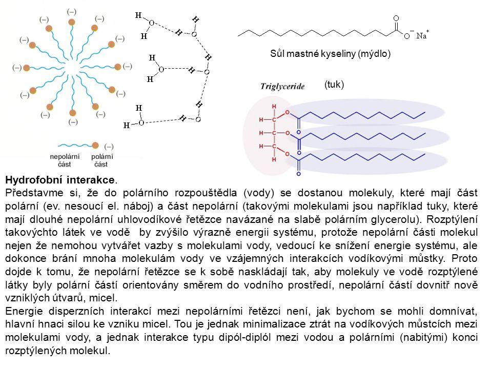 Hydrofobní interakce. Představme si, že do polárního rozpouštědla (vody) se dostanou molekuly, které mají část polární (ev. nesoucí el. náboj) a část