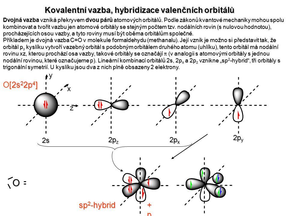 : HH Dvojná vazba vzniká překryvem dvou párů atomových orbitálů. Podle zákonů kvantové mechaniky mohou spolu kombinovat a tvořit vazbu jen atomové orb