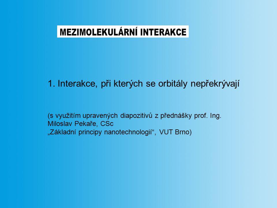 """1. Interakce, při kterých se orbitály nepřekrývají (s využitím upravených diapozitivů z přednášky prof. Ing. Miloslav Pekaře, CSc """"Základní principy n"""