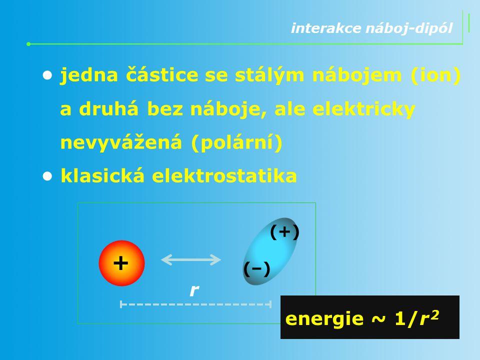 interakce dipól-dipól částice bez náboje, ale elektricky nevyvážené (polární) Keesomovy interakce [kejsom] klasická elektrostatika r (-)(-) (+)(+) (+)(+) (–) energie ~ 1/r 3