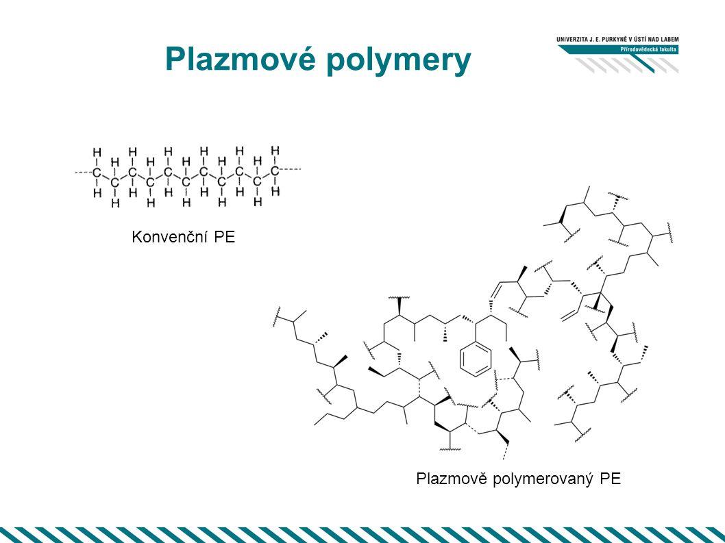 Plazmové polymery Plazmově polymerovaný PE Konvenční PE