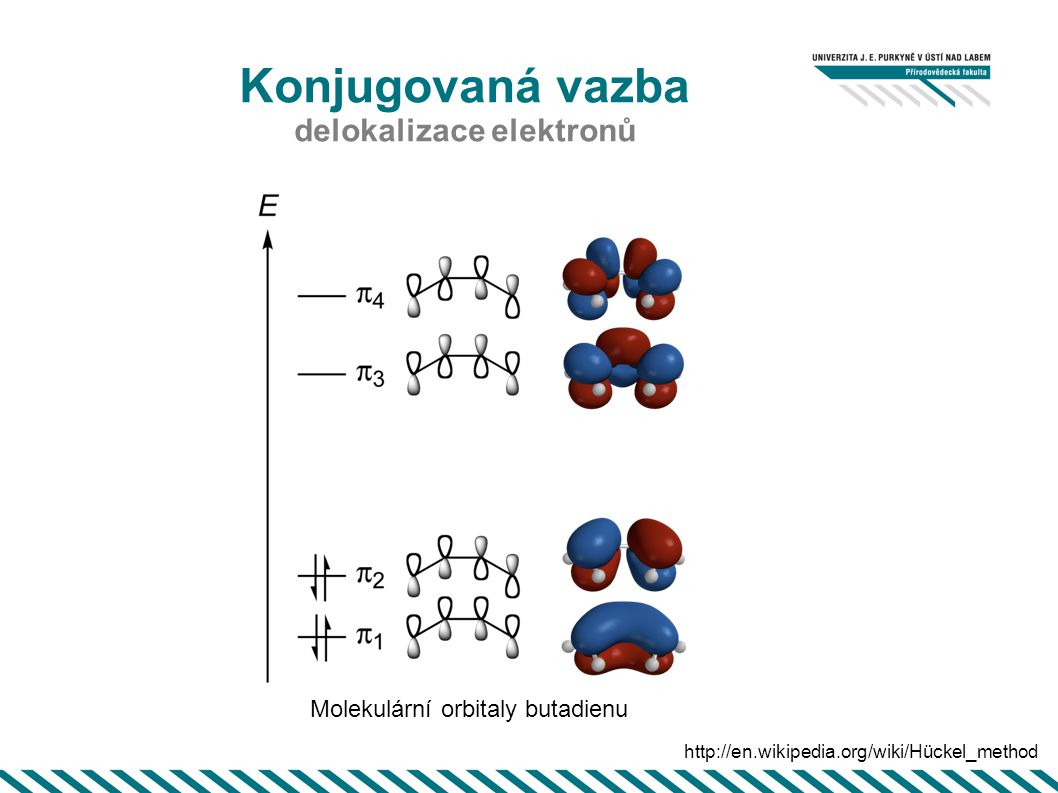 Konjugovaná vazba delokalizace elektronů http://en.wikipedia.org/wiki/Hückel_method Molekulární orbitaly butadienu