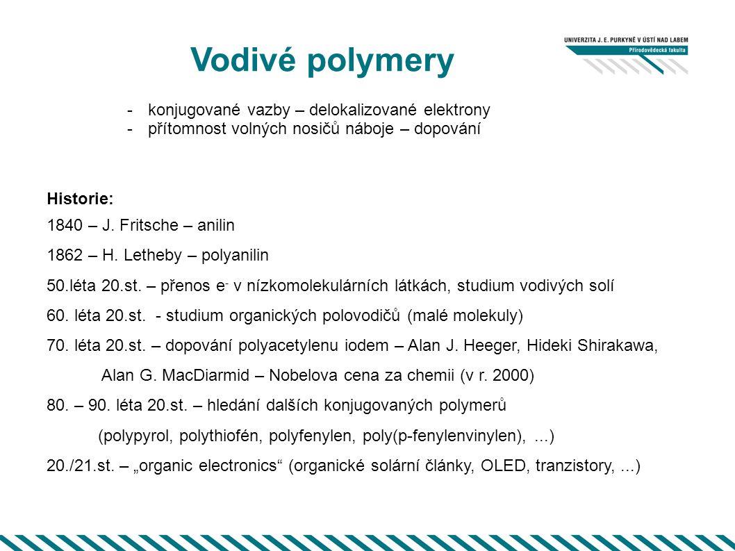 Vodivé polymery -konjugované vazby – delokalizované elektrony -přítomnost volných nosičů náboje – dopování Historie: 1840 – J. Fritsche – anilin 1862