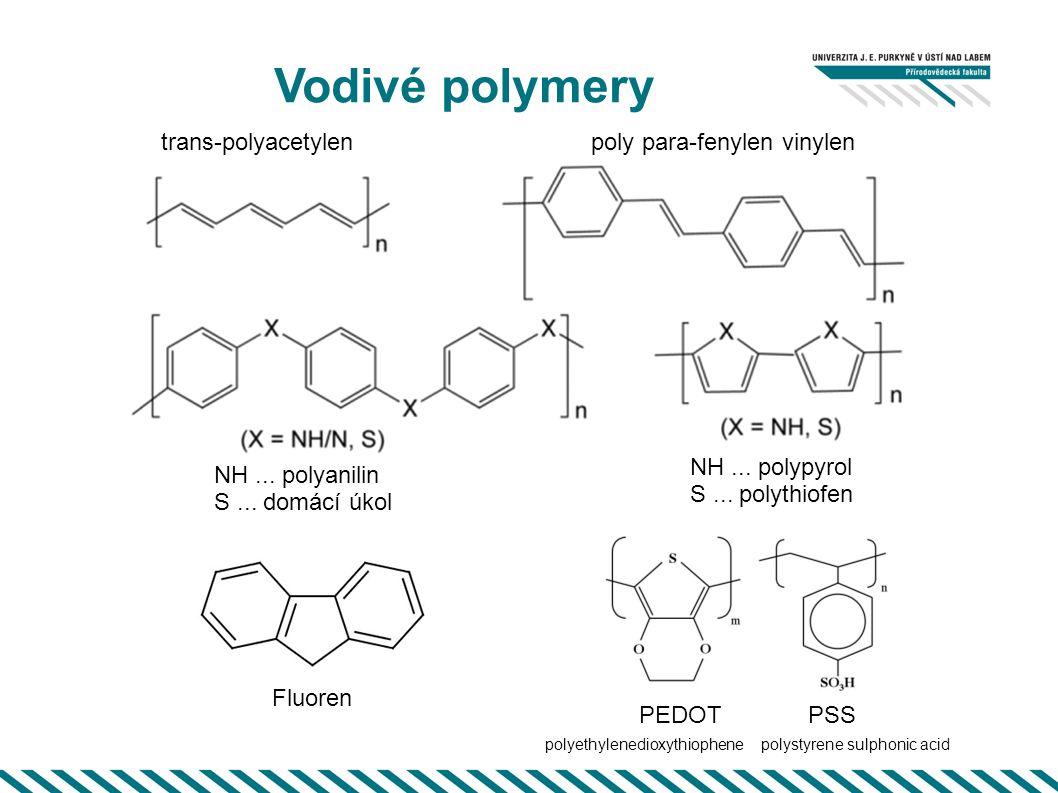 Vodivé polymery NH... polyanilin S... domácí úkol poly para-fenylen vinylentrans-polyacetylen NH... polypyrol S... polythiofen Fluoren PEDOT PSS polye