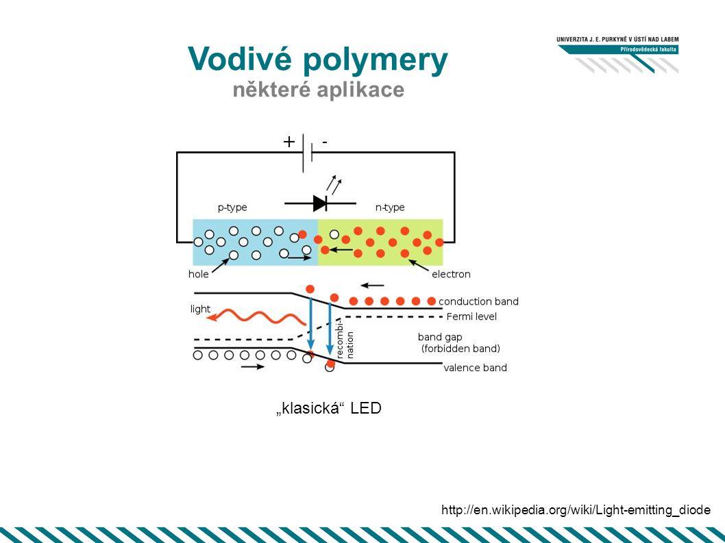 """Vodivé polymery některé aplikace http://en.wikipedia.org/wiki/Light-emitting_diode """"klasická"""" LED"""