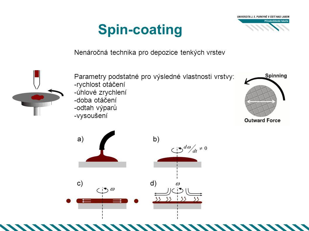 Spin-coating Parametry podstatné pro výsledné vlastnosti vrstvy: -rychlost otáčení -úhlové zrychlení -doba otáčení -odtah výparů -vysoušení Nenáročná