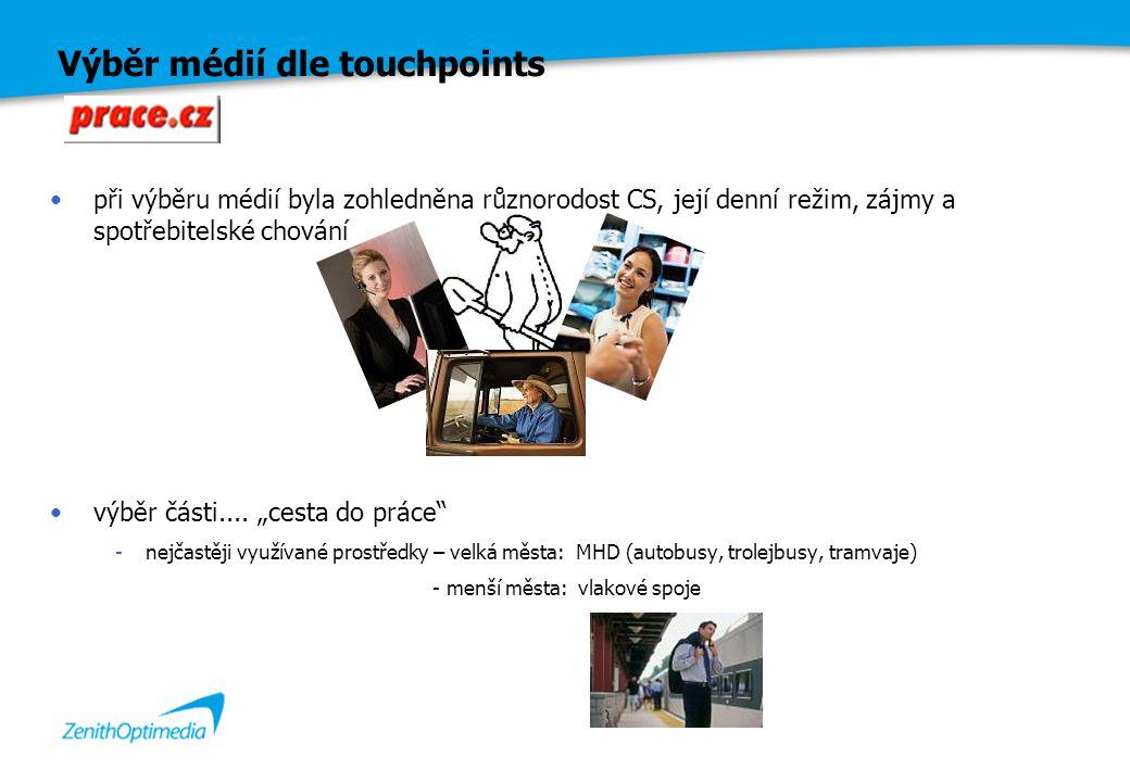 """Výběr médií dle touchpoints při výběru médií byla zohledněna různorodost CS, její denní režim, zájmy a spotřebitelské chování výběr části.... """"cesta d"""