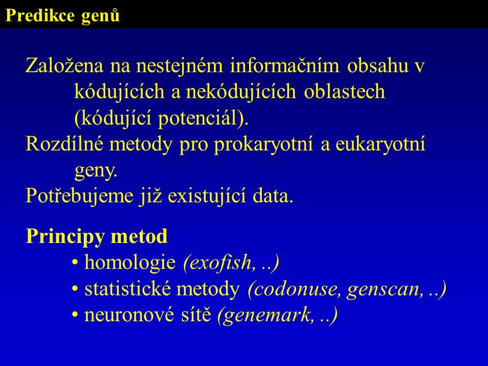 Predikce genů Založena na nestejném informačním obsahu v kódujících a nekódujících oblastech (kódující potenciál).