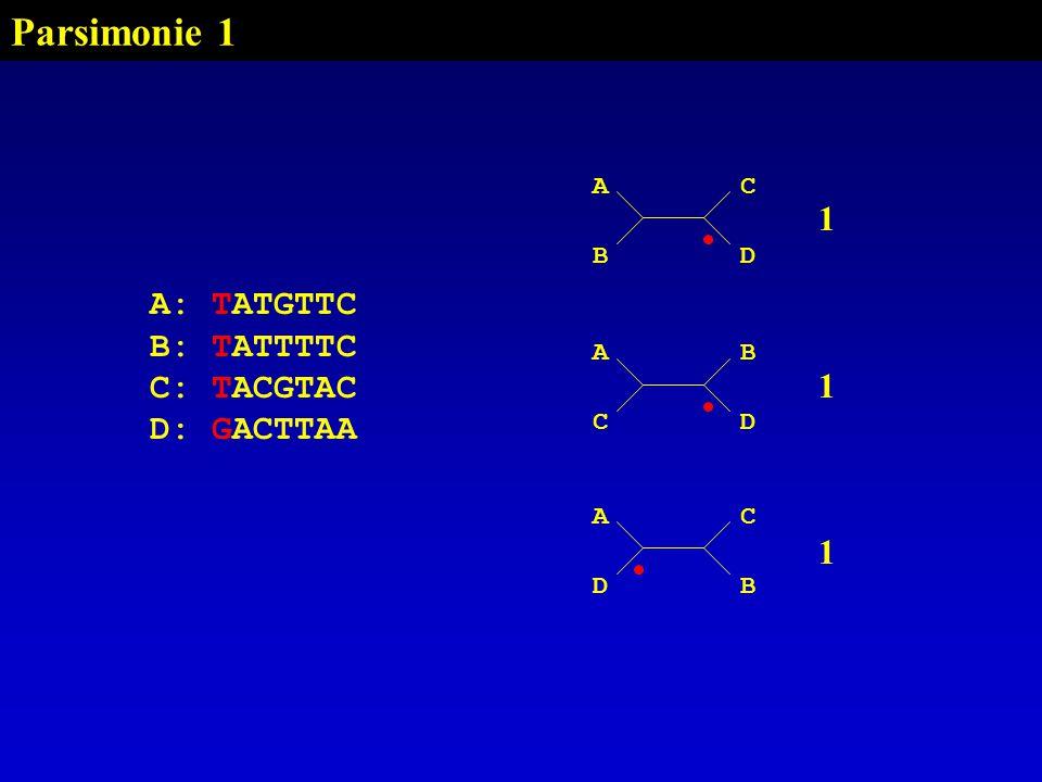 Parsimonie 1 AC BD A: TATGTTC B: TATTTTC C: TACGTAC D: GACTTAA AB CD AC DB 111111