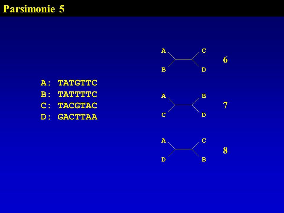Parsimonie 5 AC BD A: TATGTTC B: TATTTTC C: TACGTAC D: GACTTAA AB CD AC DB 678678