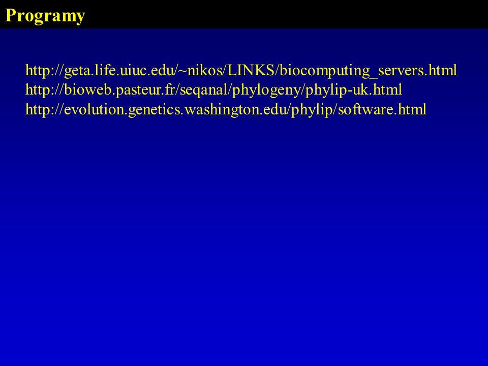 Programy http://geta.life.uiuc.edu/~nikos/LINKS/biocomputing_servers.html http://bioweb.pasteur.fr/seqanal/phylogeny/phylip-uk.html http://evolution.genetics.washington.edu/phylip/software.html