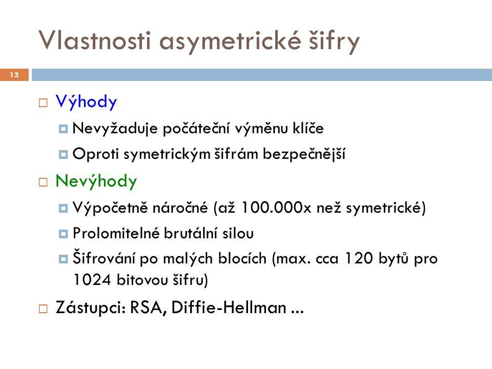 Vlastnosti asymetrické šifry  Výhody  Nevyžaduje počáteční výměnu klíče  Oproti symetrickým šifrám bezpečnější  Nevýhody  Výpočetně náročné (až 1