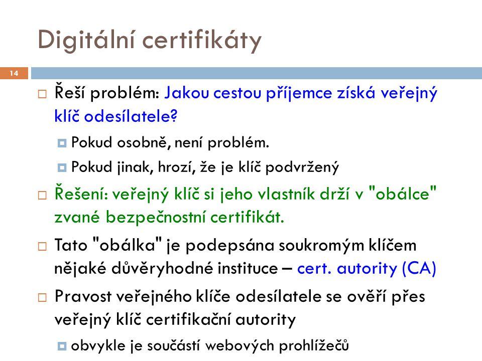 Digitální certifikáty  Řeší problém: Jakou cestou příjemce získá veřejný klíč odesílatele?  Pokud osobně, není problém.  Pokud jinak, hrozí, že je