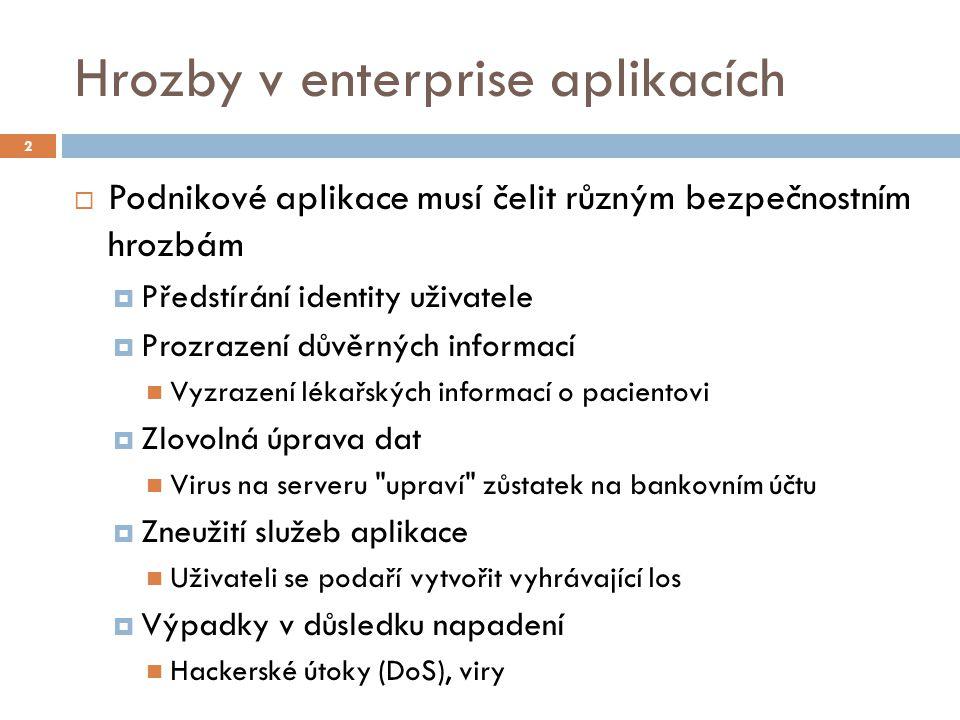 Hrozby v enterprise aplikacích  Podnikové aplikace musí čelit různým bezpečnostním hrozbám  Předstírání identity uživatele  Prozrazení důvěrných in