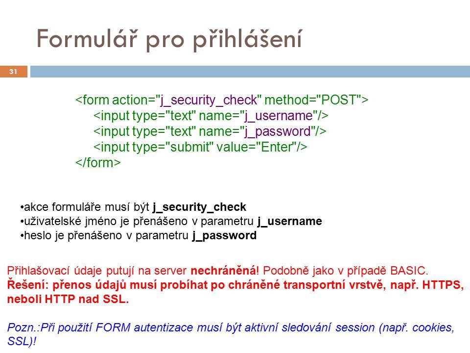 Formulář pro přihlášení 31 akce formuláře musí být j_security_check uživatelské jméno je přenášeno v parametru j_username heslo je přenášeno v paramet