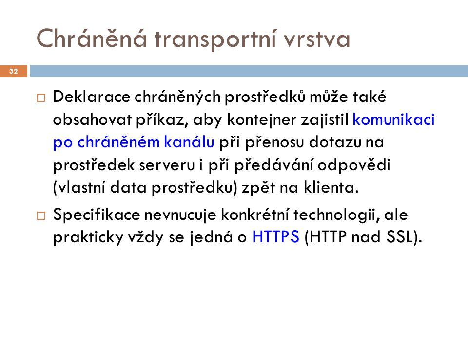 Chráněná transportní vrstva  Deklarace chráněných prostředků může také obsahovat příkaz, aby kontejner zajistil komunikaci po chráněném kanálu při př