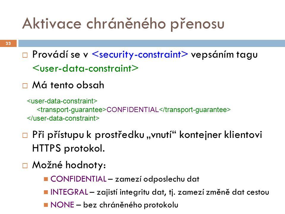 """Aktivace chráněného přenosu  Provádí se v vepsáním tagu  Má tento obsah  Při přístupu k prostředku """"vnutí"""" kontejner klientovi HTTPS protokol.  Mo"""