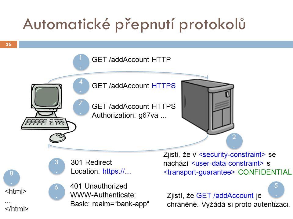 Automatické přepnutí protokolů 36 1.1. 1.1. 2.2. 2.2. GET /addAccount HTTP Zjistí, že v se nachází s CONFIDENTIAL 3.3. 3.3. 301 Redirect Location: htt