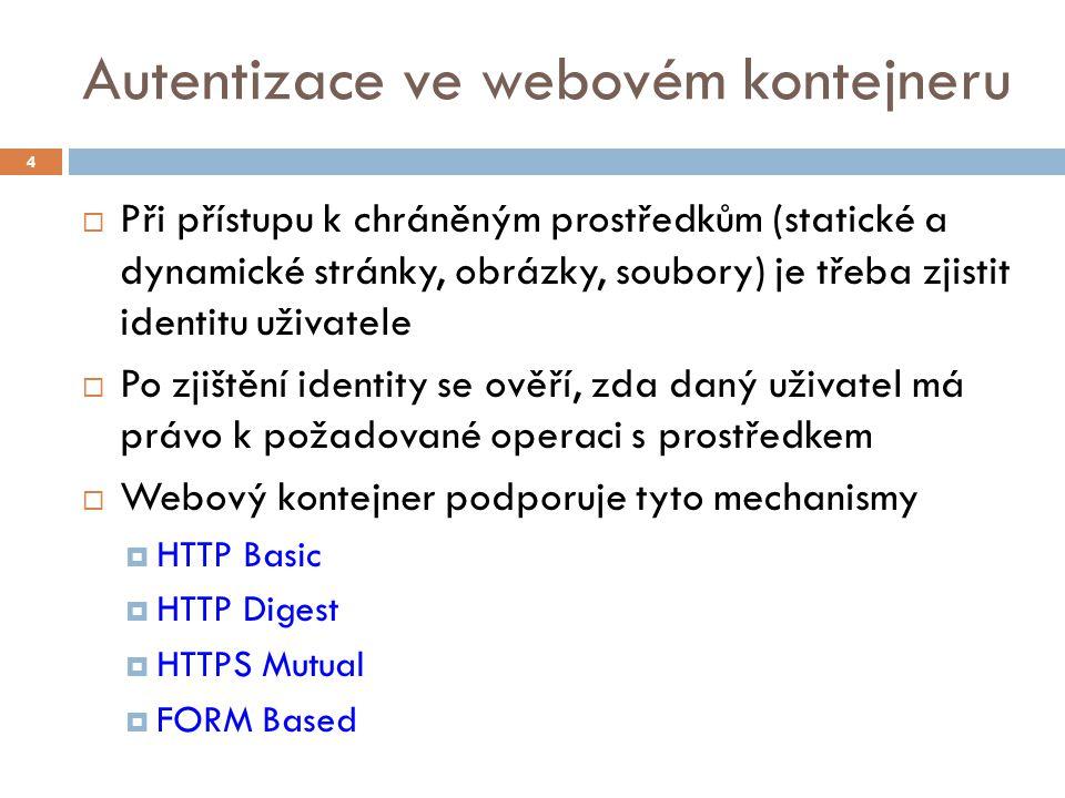 Autentizace ve webovém kontejneru  Při přístupu k chráněným prostředkům (statické a dynamické stránky, obrázky, soubory) je třeba zjistit identitu už