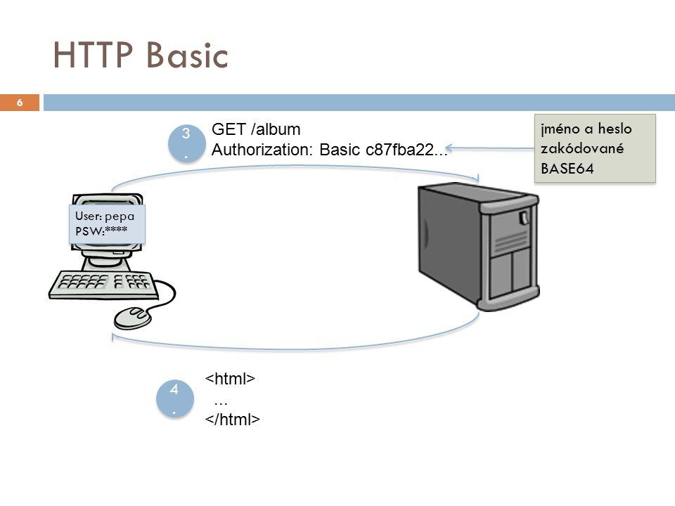 HTTP Basic 6 GET /album Authorization: Basic c87fba22...... 3.3. 3.3. 4.4. 4.4. User: pepa PSW:**** User: pepa PSW:**** jméno a heslo zakódované BASE6
