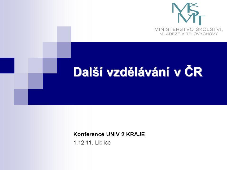 Další vzdělávání v ČR Konference UNIV 2 KRAJE 1.12.11, Liblice