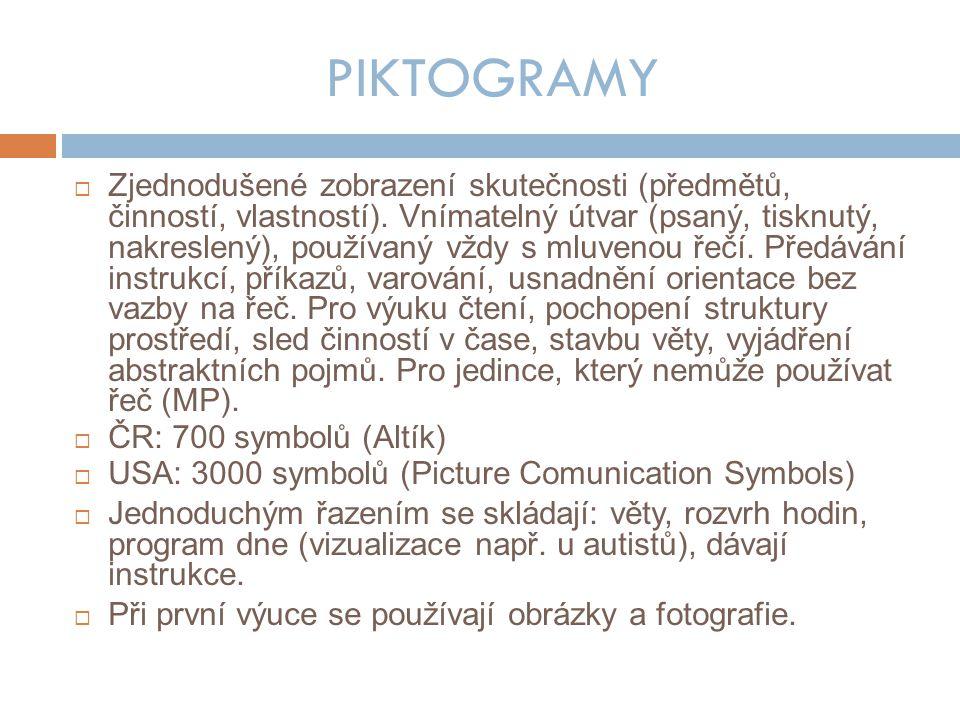 PIKTOGRAMY  Zjednodušené zobrazení skutečnosti (předmětů, činností, vlastností).