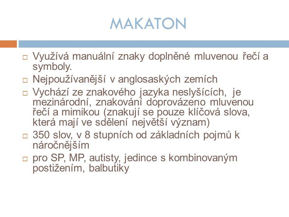MAKATON  Využívá manuální znaky doplněné mluvenou řečí a symboly.
