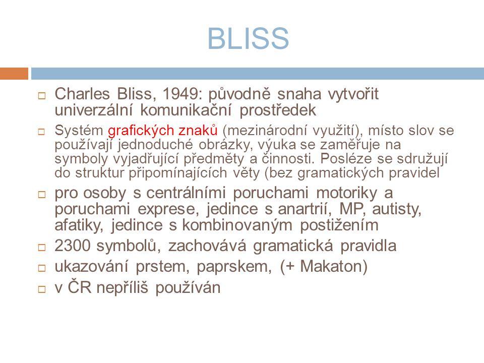 BLISS  Charles Bliss, 1949: původně snaha vytvořit univerzální komunikační prostředek  Systém grafických znaků (mezinárodní využití), místo slov se používají jednoduché obrázky, výuka se zaměřuje na symboly vyjadřující předměty a činnosti.